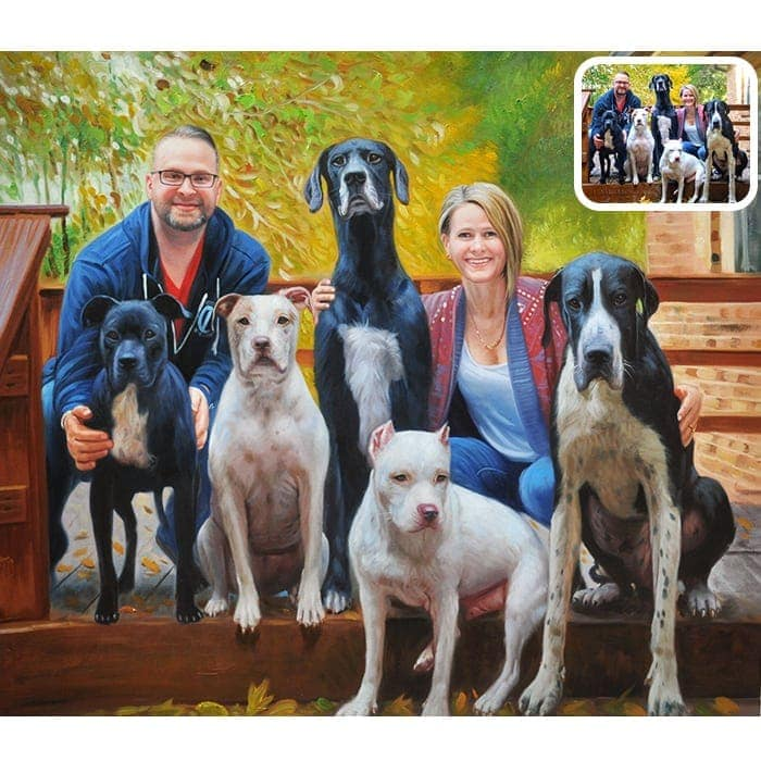 family and dog oil portrait