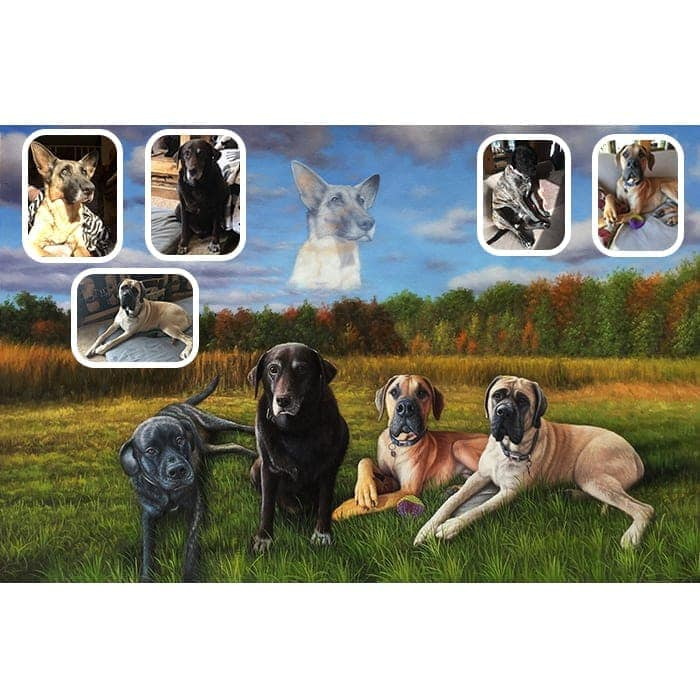 five dogs merge oil painting