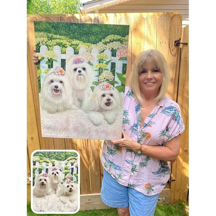 3 cute dogs and happy customer
