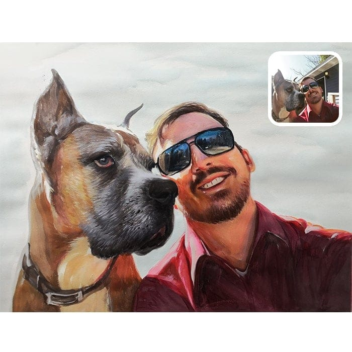 dog and man watercolor painting