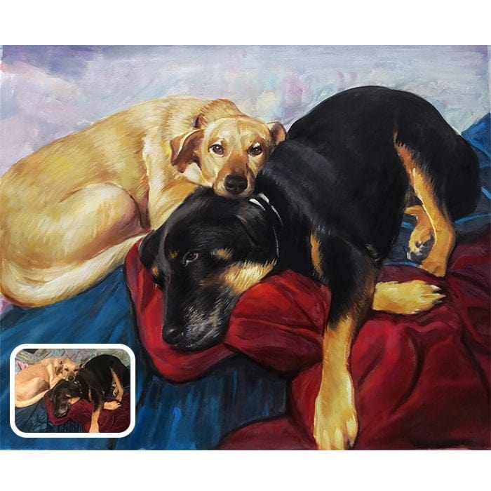 two dog watercolor painting