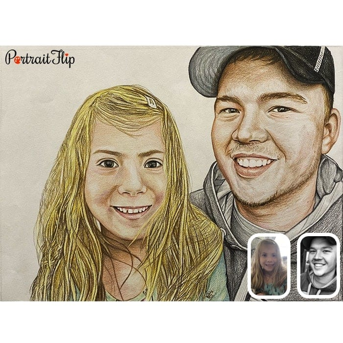 brother and sister colored pencil