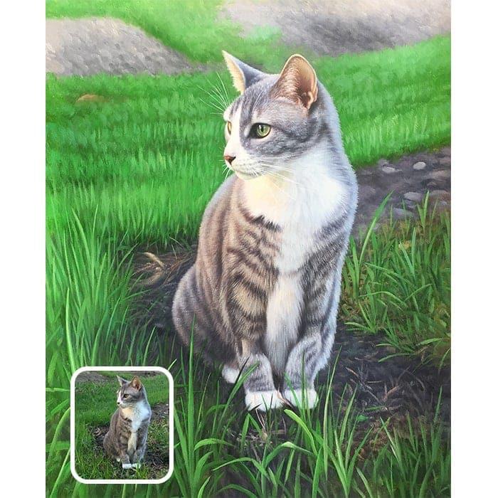 cat acrylic portrait