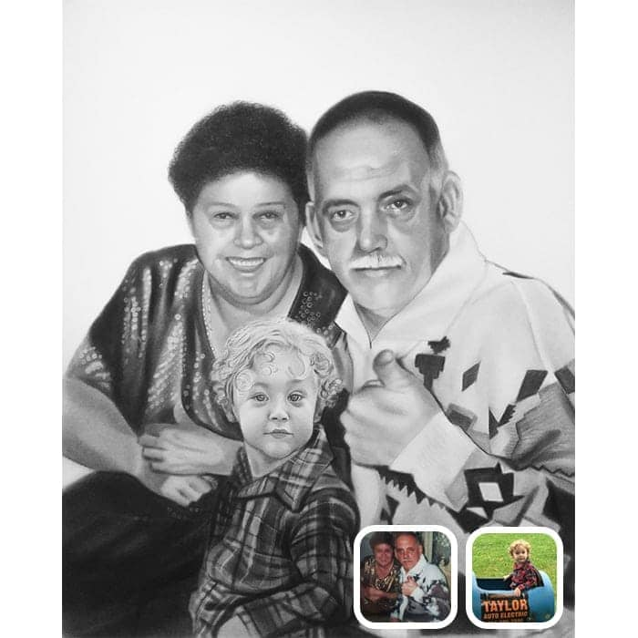 baby and grandparents charcoal drawing