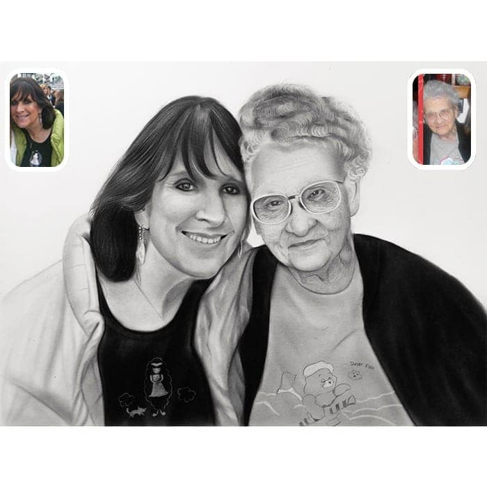 grand parent charcoal painting