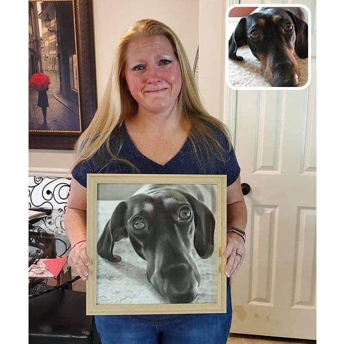 dog charcoal painting happy customer