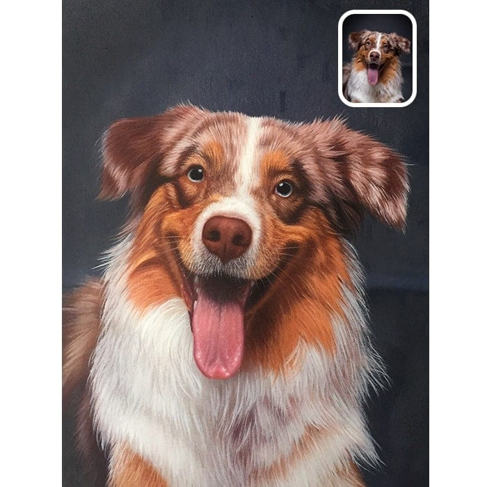 happy dog oil portrait