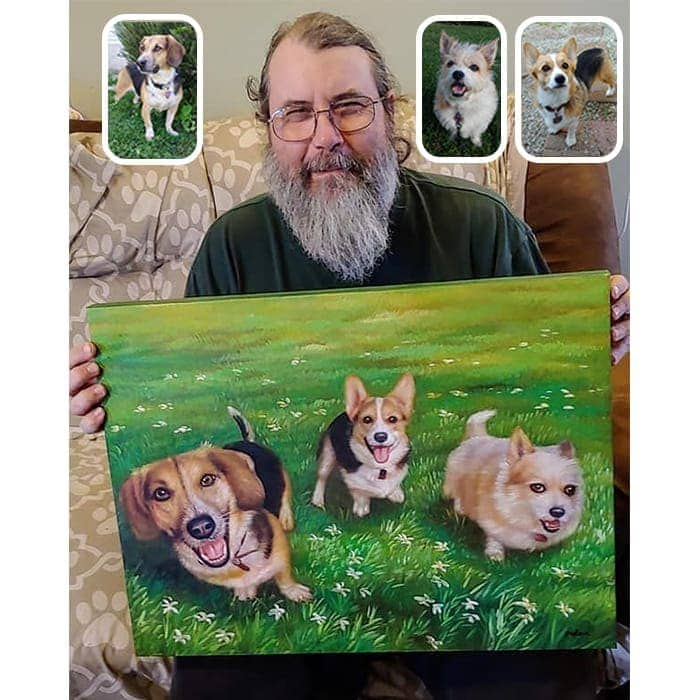 merge dog painting happy customer