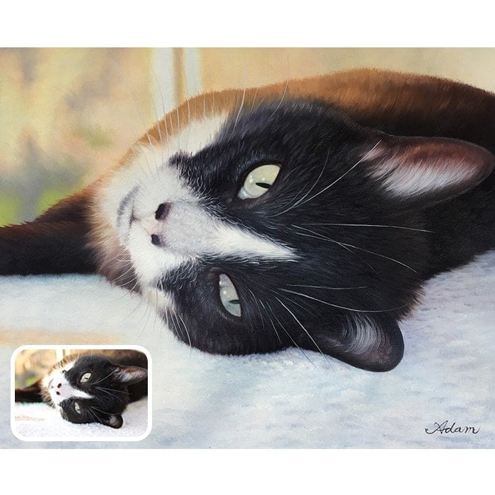 lying cat oil portrait