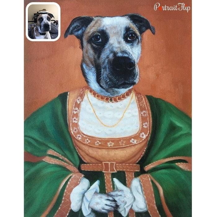 dog in pope dress portrait