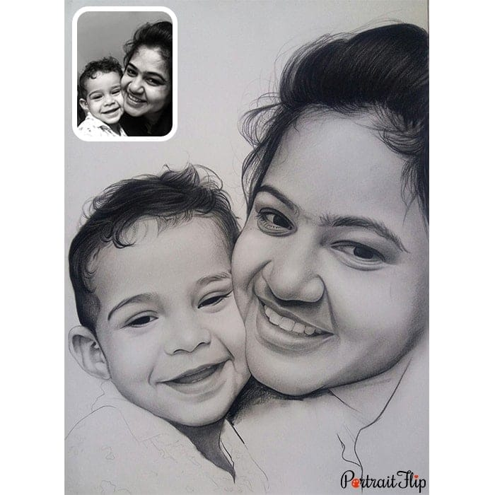 baby with mother pencil portrait