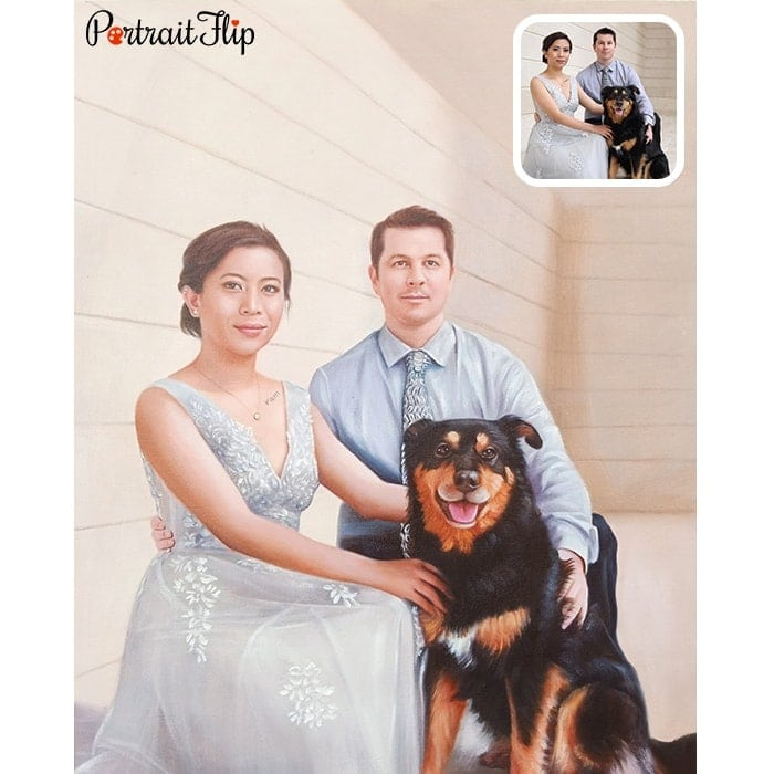 couple with dog wedding OIL PORTRAITS