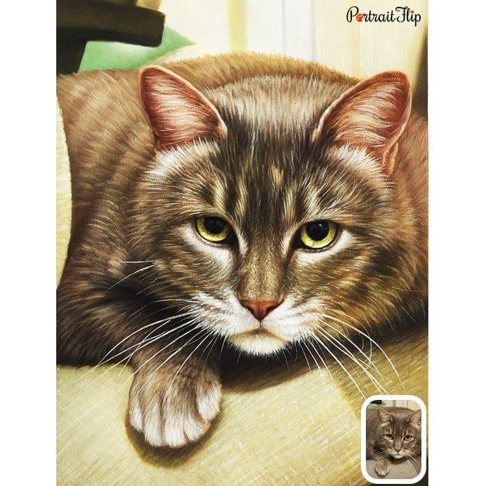brown CAT OIL portrait painting