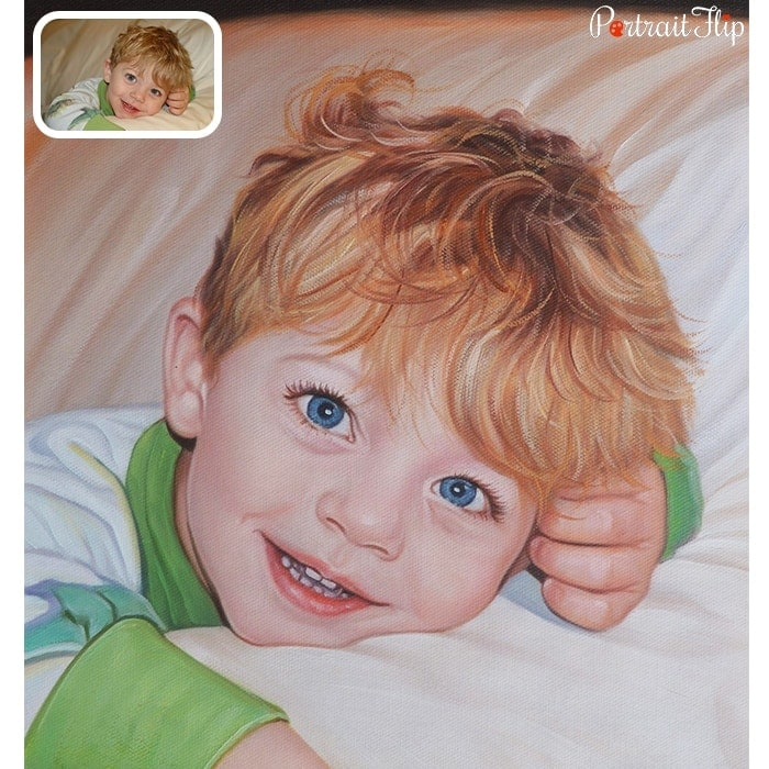 happy child oil painting