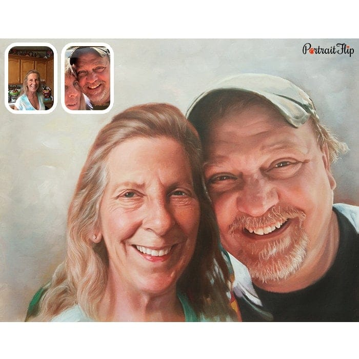 couple merged oil painting