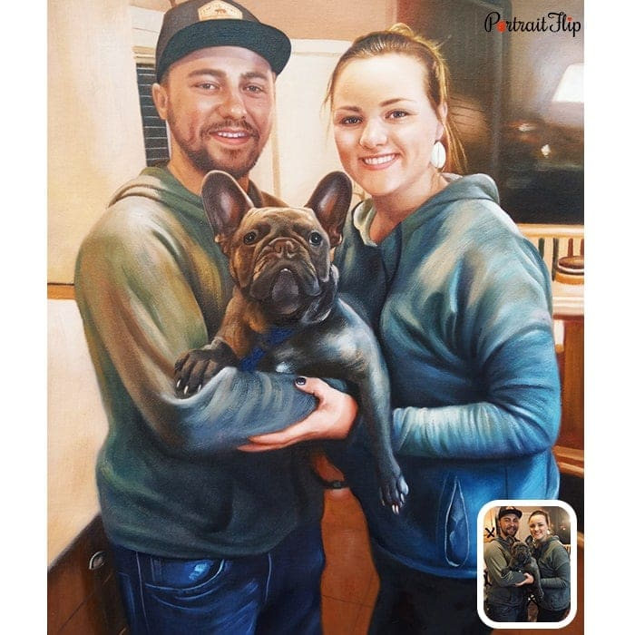 couple with dog painting