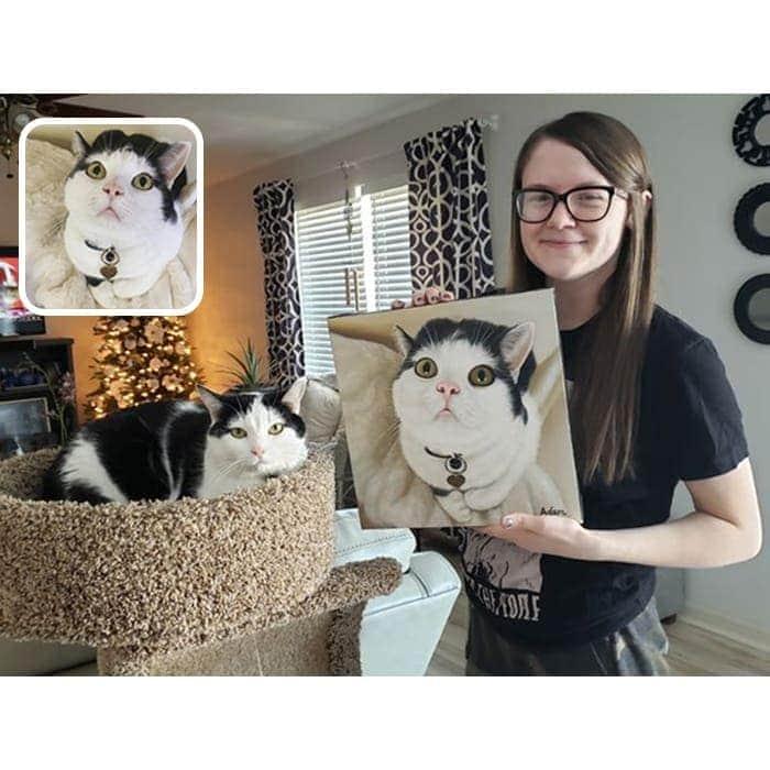 cat oil portrait with happy customer