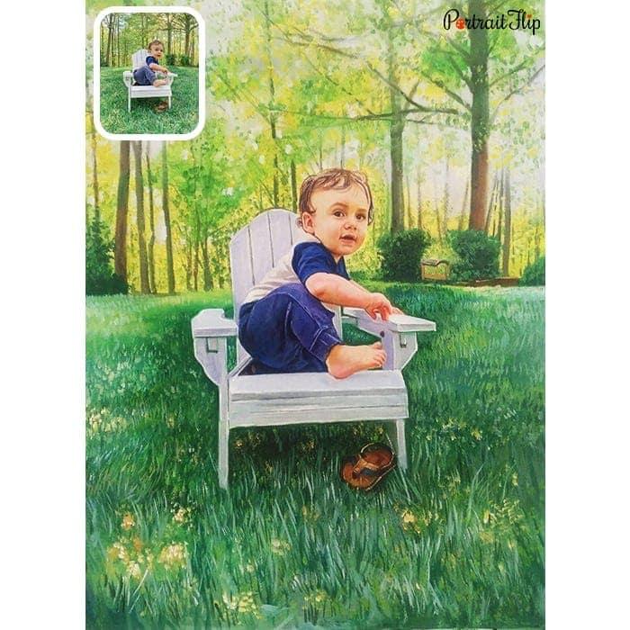baby acrylic portrait