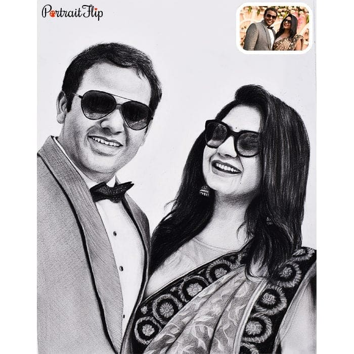 desi indian couple pencil drawing