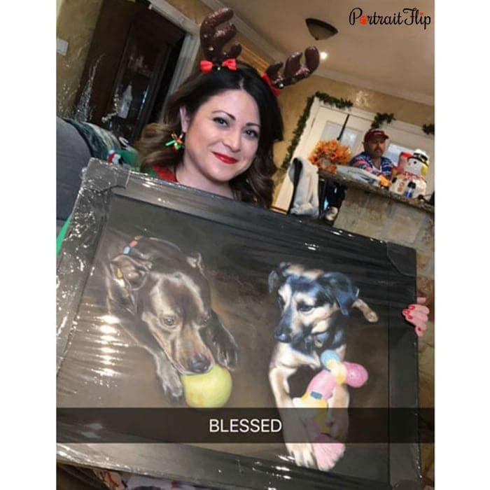 happy customer with dogs portrait