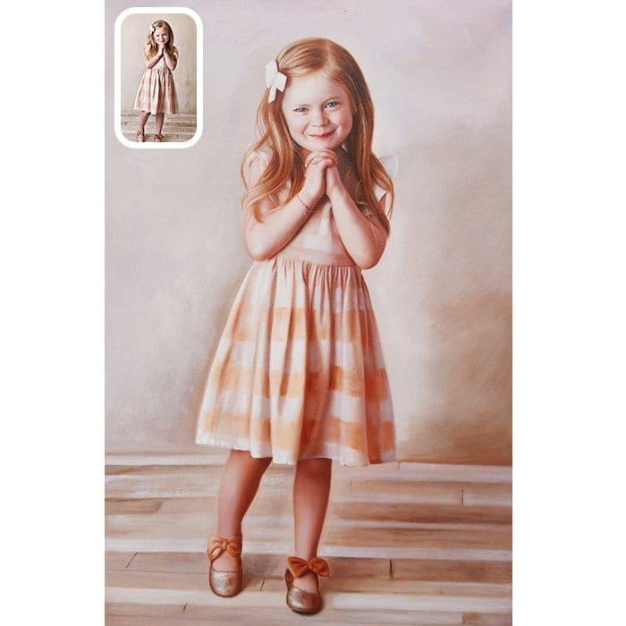 standing girl oil portrait