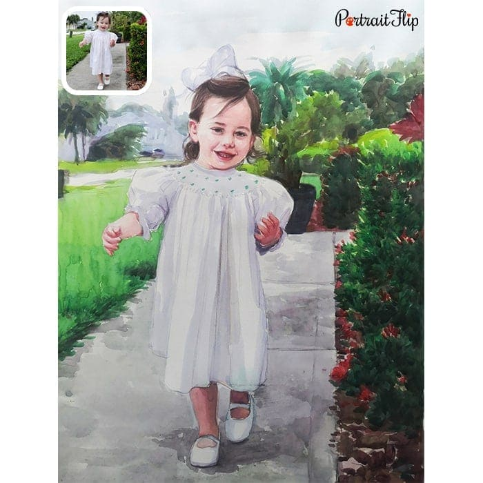 baby girl watercolor painting