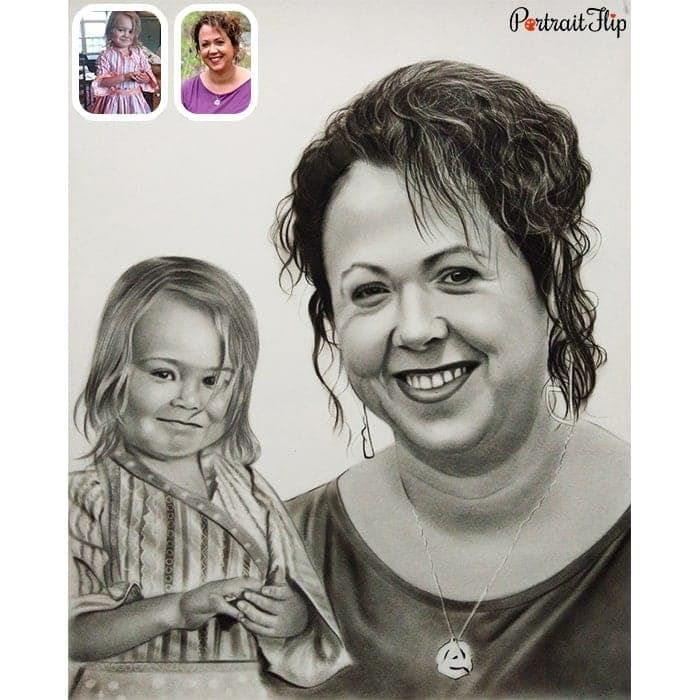 daughter with mother pencil sketch