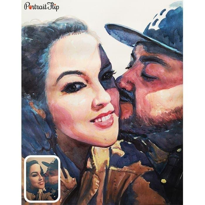 couple watercolor portrait painting