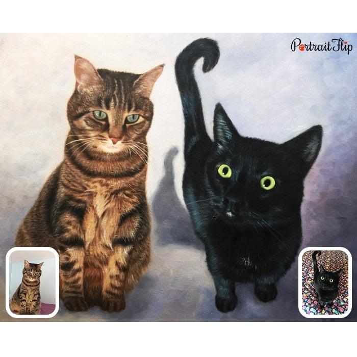 two cats oil portrait