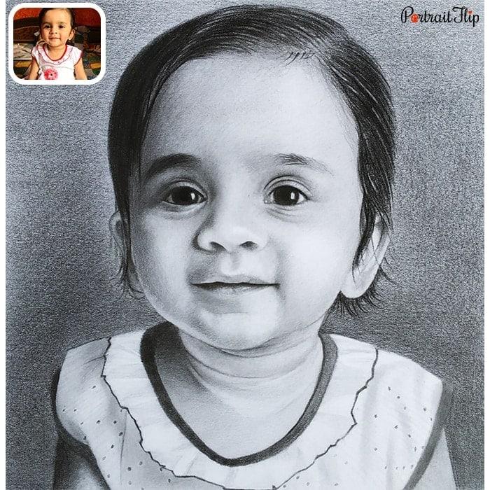kid charcoal portrait
