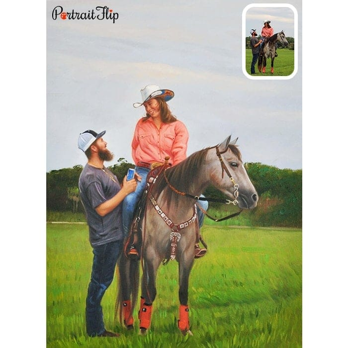 couple with horse oil painting
