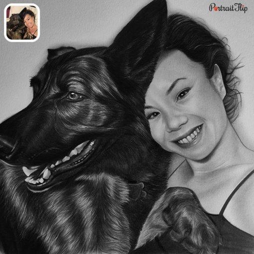 Handmade People & Pet Charcoal Drawing