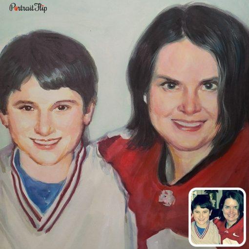 Handmade Parents & Children Watercolor Painting