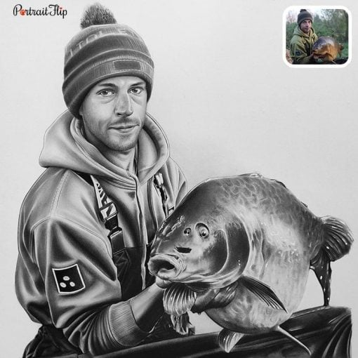 People & Pet Charcoal Drawing From Photo