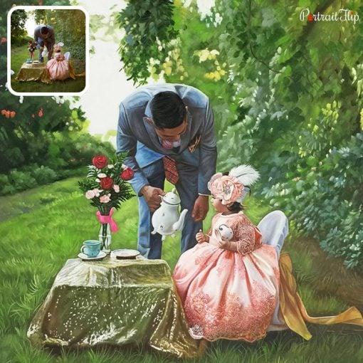 Acrylic Parents & Children Portrait From Photo