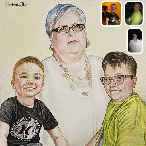 Handmade GrandParents & GrandChildren Colored Pencil Drawing