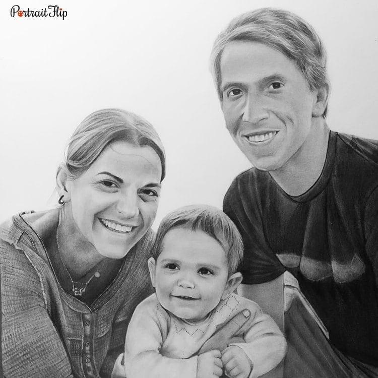 Family Pencil Portraits | Photo to Custom Pencil Sketch ...
