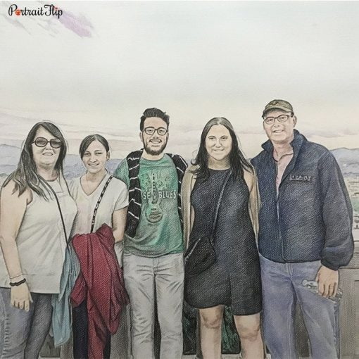 Family Colored Pencil Drawing
