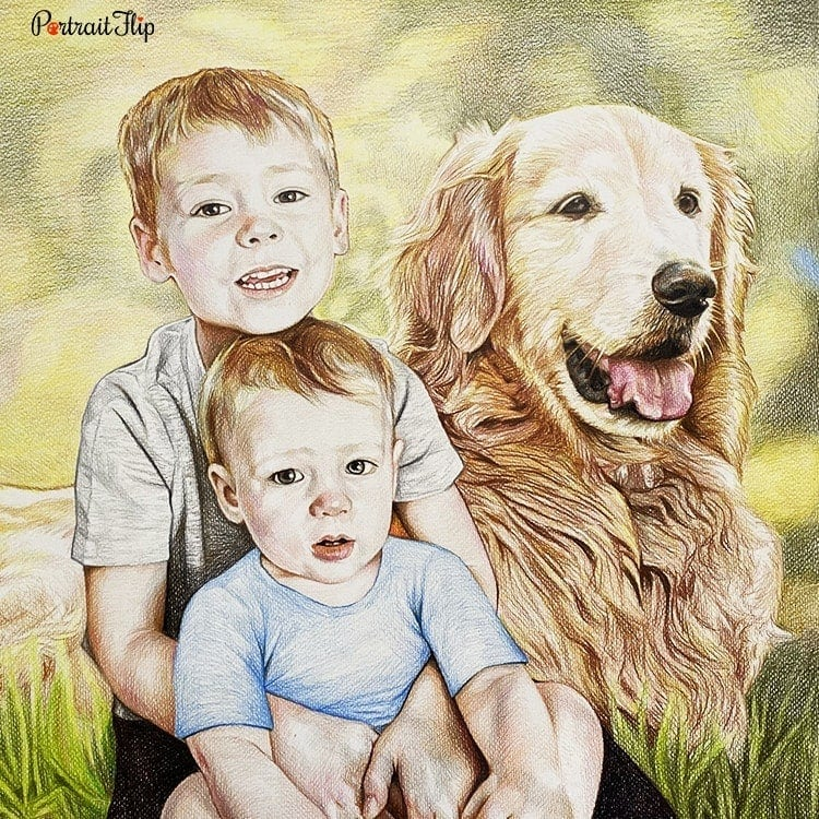 People & Pet Colored Pencil Portraits
