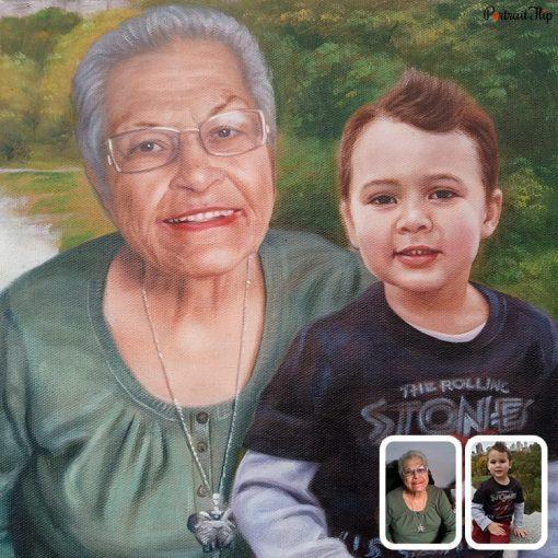 GrandParents & GrandChildren Oil Painting