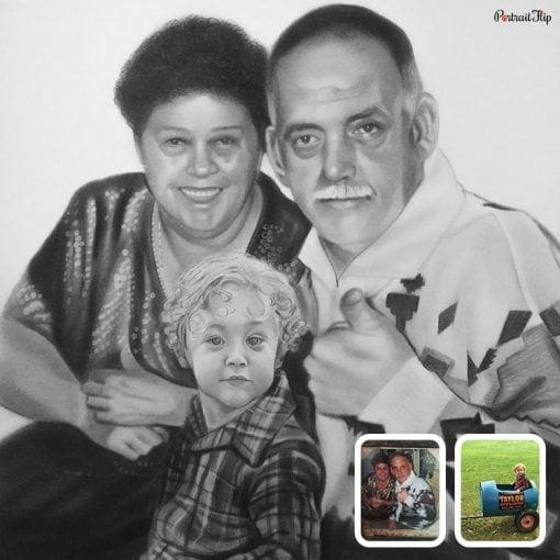 GrandParents & GrandChildren Pencil Sketch From Photo