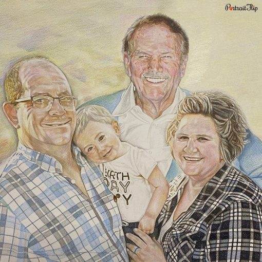 GrandParents & GrandChildren Colored Pencil Portraits