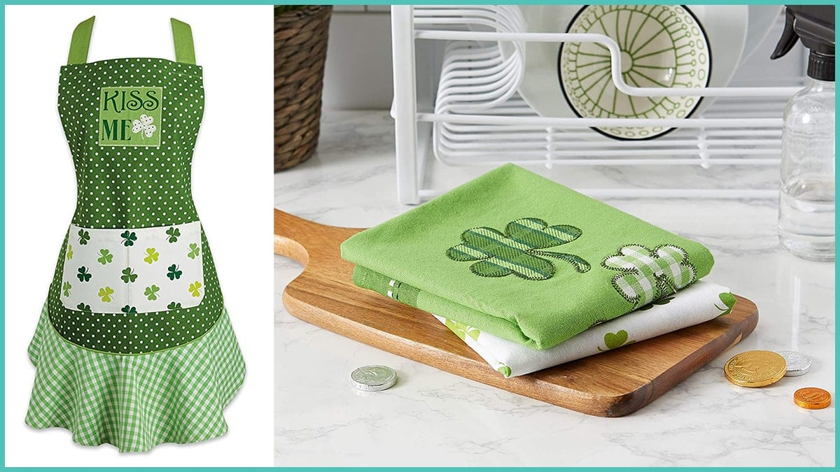 St Patrick's Day Cotton Apron with Pocket and Extra Long Ties PortraitFlip