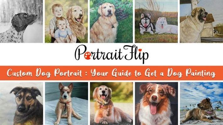 various types of custom dog portraits