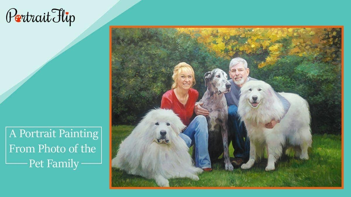 A portrait painting from photo of the pet family