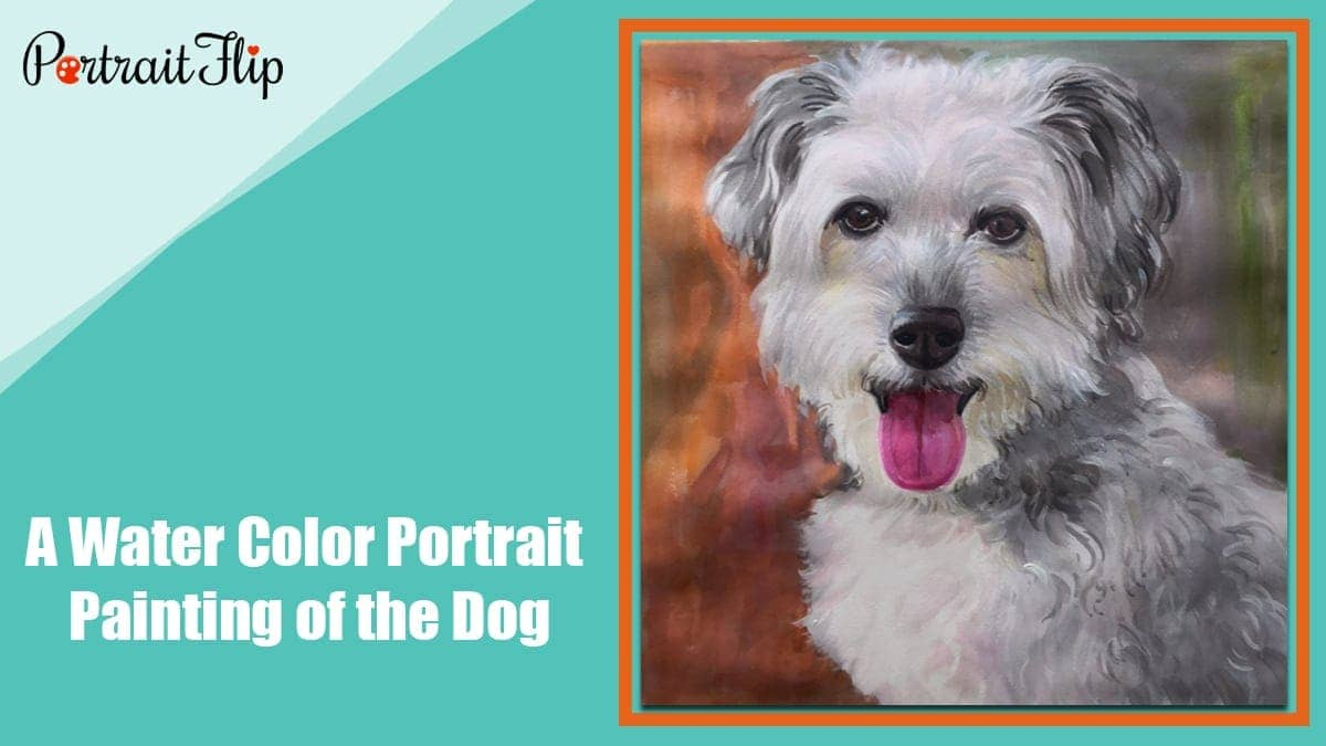 A water color portrait painting of the dog