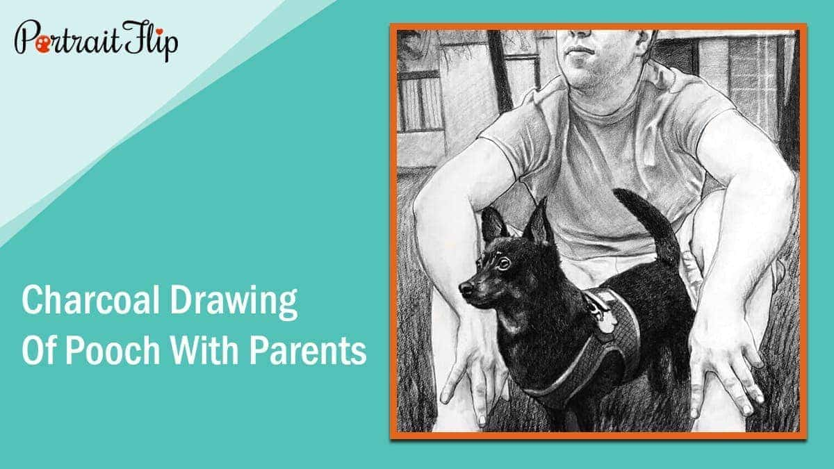 Charcoal drawing or pencil sketch of the pooch with parents