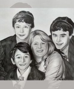 Custom charcoal sketch family