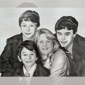 Custom charcoal sketch family