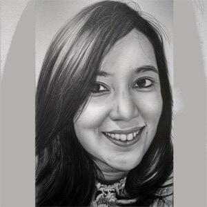 Custom pencil sketch girl